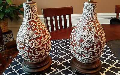 Antique Pair Pottery Oriental Chinese Japanese Lamps with wood base