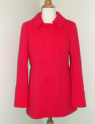 Women's J. Crew Bright Pink Fuchsia Wool Coat Size 6
