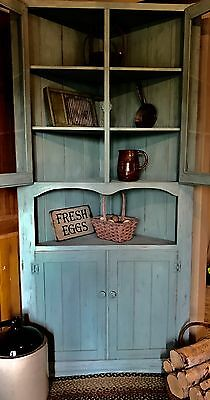 Distressed Shabby Chic Corner Hutch Cabinet