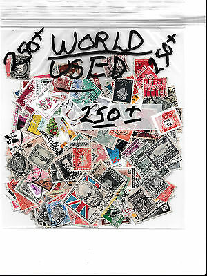 World 250+ used stamps ( All Different )