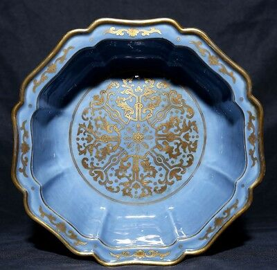 Large Rare Antique Chinese Blue Porcelain Plate Decorative Collectible FA201