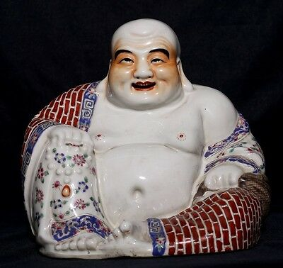 Very Rare Unique Old Chinese Hand Painting Porcelain Buddha Statue FA215