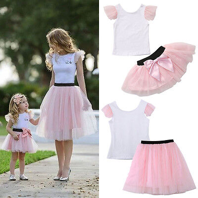 Mother and Daughter Casual Summer T-shirt Skirt Tulle Dress Matching Outfits USA