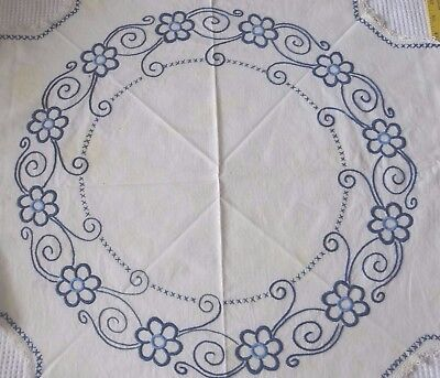 Vintage Handmade Tablecloth Embroidered Blue Flowers Crochet Edges Square Cross