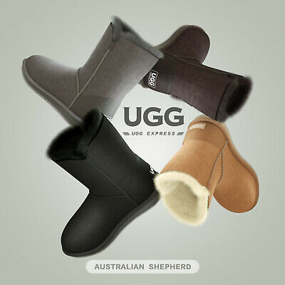 Ugg Boots Sheepskin Classic Short Button Australian Ladies Black Size 35-41 EU