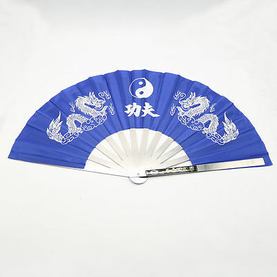 """27"""" STAINLESS STEEL & NYLON ASIAN *POP* FAN Tai Chi/Kung Fu/ DRAG QUEEN- Blue"""