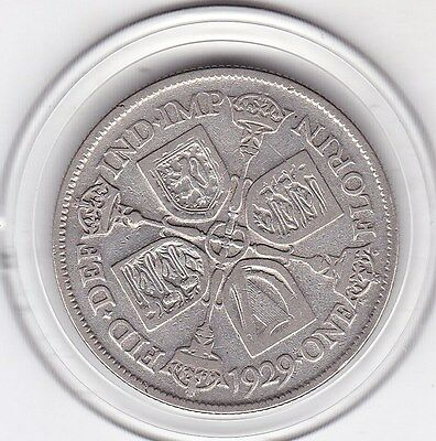 1929   King  George  V  Florin  (2/-)  Sterling Silver (50%)  Coin