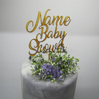Laser Cut Wooden Cake Topper - Personalised Name Baby Shower
