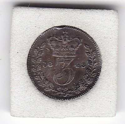 1843   Queen  Victoria  Threepence  (3d)  Solid Silver (92.5%) Coin