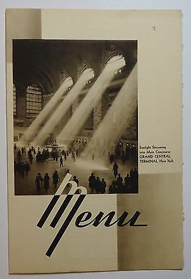 New York Central Railroad 1940 Folder Menu -  Grand Central - The Pacemaker