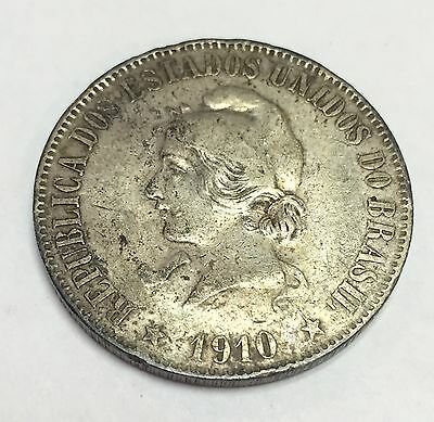 1910 Brazil 2000 Reis, silver , 33mm, very good condition