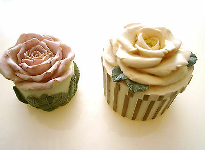 2 Shabby Chic Rose Topped Trinket Boxes By Dezine, Hand Painted