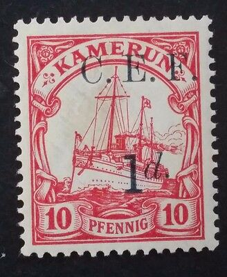 1915 Cameroon (British Occpn) 10 Pfg red Hohenzollern stamp C.E.F. O/P Mint
