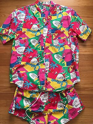 VTG 80-90s Cotton Mens Swimsuit Set Shorts Swim Trunks Top Shirt  Colorful Large