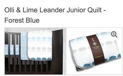 OLLI & LIME Leander Cot/Junior Bed Quilt in Forrest Blue **NEW** RRP $90