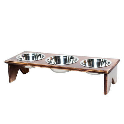 Pet Bowl Stand - Wooden - 3 Bowls - Bigger Middle Bowl - Suits 2 Cats or Dogs