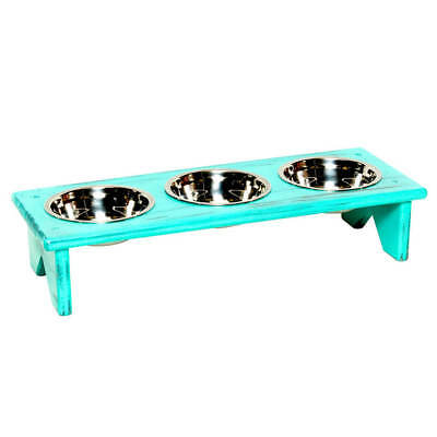 Pet Bowl Stand - Wooden - 3 equal bowls – Serve kibble, wet food and water