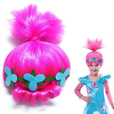 Child Trolls Funny Poppy Pink Wigs Kids Cosplay Props Costume Dress Party Toy AU