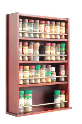 Spice Rack - Wooden - Closed Top - 4 Tiers - Stainless Steel Bar - 72 Jars