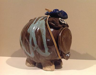 Art Studio Glazed Clay Pottery Brown Pig with Cowboy Hat Piggy Bank