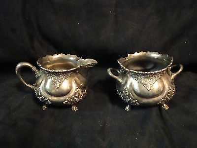 Antique E. G. WEBSTER & SON FOOTED CREAMER AND UNCOVERED SUGAR BOWL