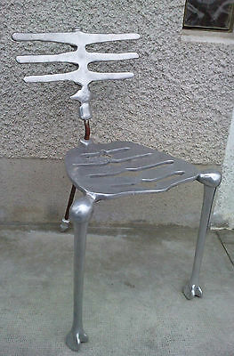 rare chaise SKELETON chair fonte aluminium design MICHAEL ARAM signé