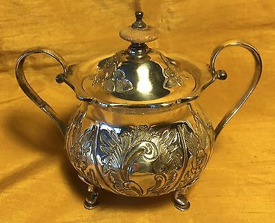 Vtg Double Handle Footed Silverplate Sugar Bowl/Etched Flowers/Wood+Finial Knob