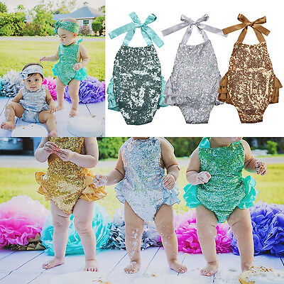 New Sequins Toddler Kids Baby Girl Romper Jumpsuit Outfits Set Costume US Stock