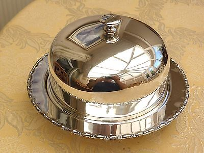 Vintage Silver Plated Muffin Dish With Dome Cover & Patterned Edge  #1260549/552