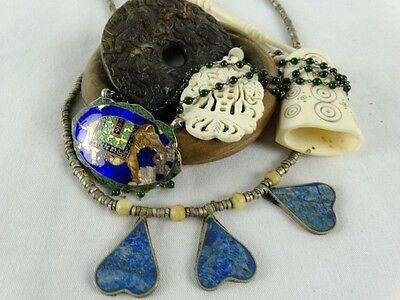 BULK Chinese Thai Indian Necklaces Pendants Bangle inc Enamel Stone Set Bi Disc
