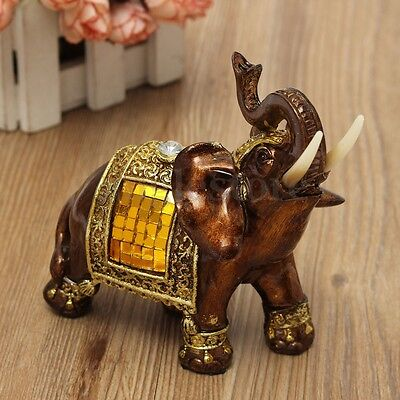"Feng Shui 4.7"" Resin Elephant Figurine Wealth Lucky Figurine Gift & Home Decor"