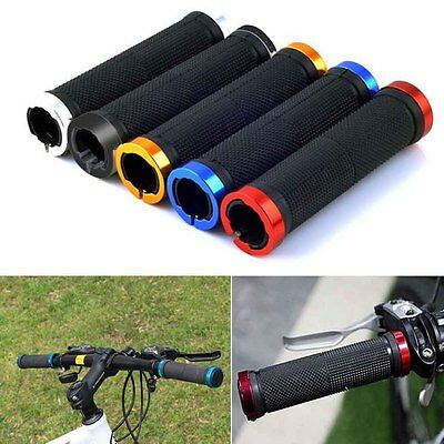 Double Lock On Locking Handlebar Grips Cycle Bicycle MTB Mountain Bike BMX Sport