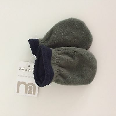 Mothercare baby boy fleece scratch mittens Gloves, Size 3-6 Months