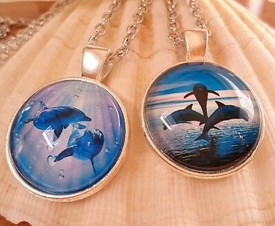 Dolphin Pendant Trinity Holiday Ocean Animal New Age Silver Necklace& Nice Pouch