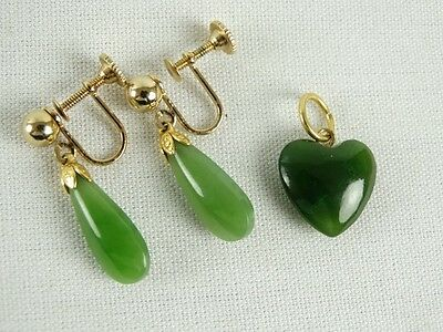 Jewellery Sale - Womens Vintage Chinese Jade Screw back earrings & Heart Pendant