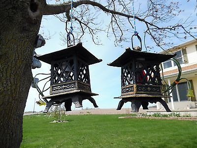 Vintage Cast Iron Japanese Garden Pagoda Ceremony Lantern TeaLights LIGHT LAMP