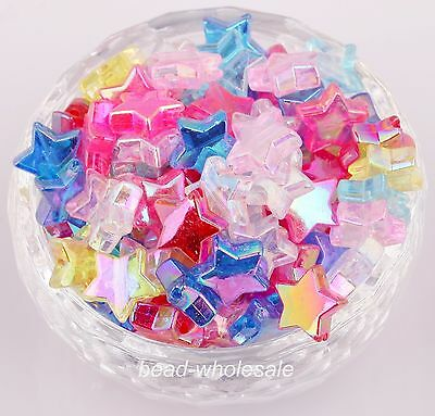 Multicoloured Color Wholesale 100pcs Pentacle-Shape Acrylic  Spacer Beads 11*4mm