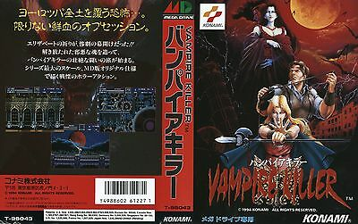 Vampire  Killer Mega Drive JP Japen NTSC-J Replacement Box Art Case Insert Cover