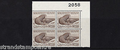 Greenland - 1969 10k Walruses - U/M - Numbered CORNER BLOCK of FOUR - SG 72