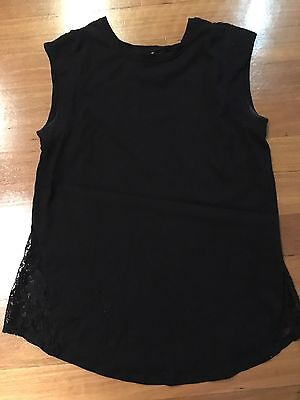 Bub2B Black Maternity Top with Lace Inserts - size 12