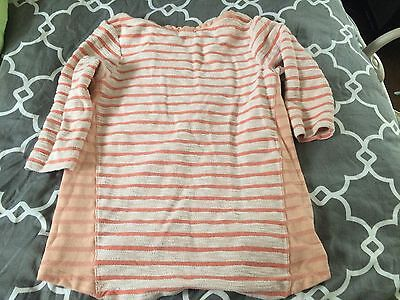 GAP Maternity French Terry Peach Striped Crewneck Sweatshirt, Size Large L