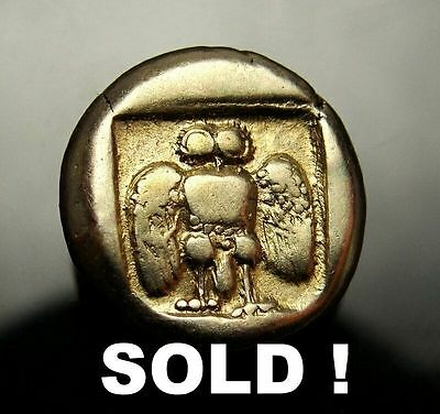 Owl and Goat. one of few known.Rare Ancient Greek gold coin. High Grade. Superb.