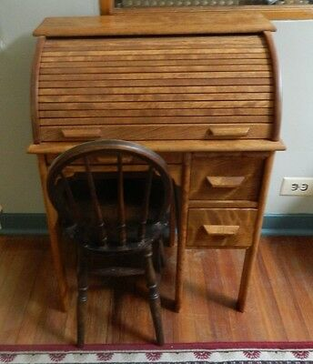 Vintage Child's Rolltop Desk And Chair Solid Maple