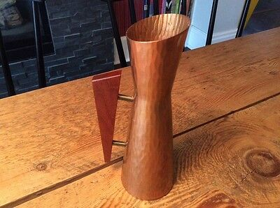 Mid Century Vintage Hammered Style Copper Vase w Teak Handle