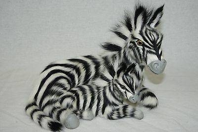 Zebra & Baby Foal Figures Covered With Fur For Home Display Decor