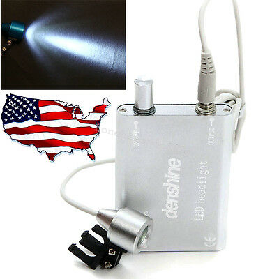 Silver Portable LED Head Light Lamp fit Dental Surgical Medical Loupes USA Stock