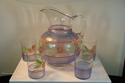 Antique/Vintage, Hand Painted Victorian Pitcher w/4 Glasses, Applied Handle