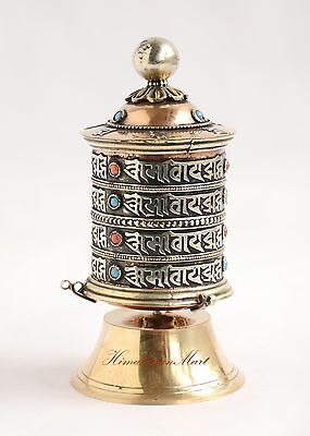 "Finely HandCarved 5.25"" Table Top Tibetan Buddhist Prayer Wheel - Handmade Nepal"