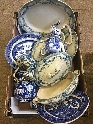 Large Heavy box vintage BLUE & WHITE WILLOW china damage cracks crafts/mosaic
