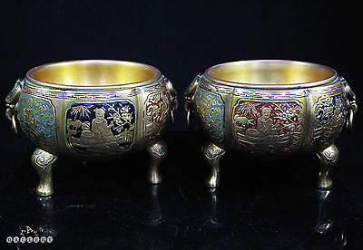 Pair Gilt Bronze Champleve Enamel Chinese / European Chinoiserie Censers c.1880
